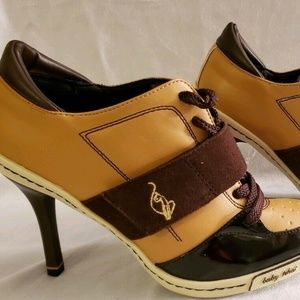 Baby Phat Ankle Booties, Brown and Tan, Size 7.5